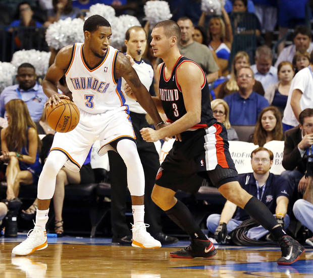 photo - Oklahoma City forward Perry Jones III, left, appeared in just 38 games for the Thunder but had 19 starts for the Tulsa 66ers. Photo by Steve Sisney, The Oklahoman