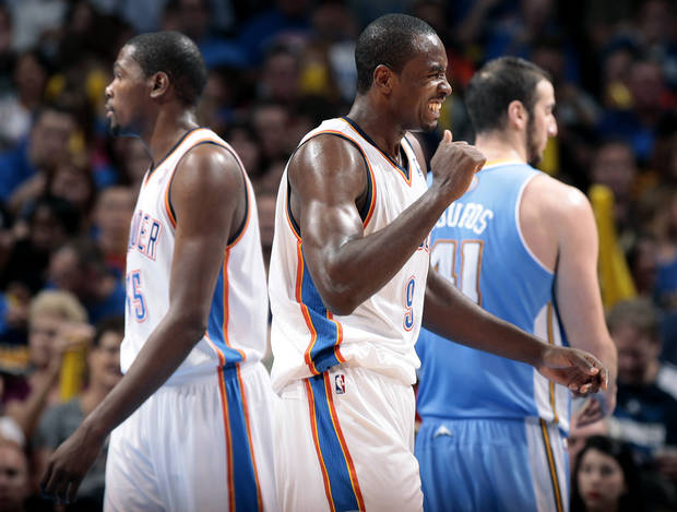photo - Oklahoma City's Serge Ibaka (9) reacts after being called for a foul during the NBA preseason basketball game between the Oklahoma City Thunder and the Denver Nuggets at the Chesapeake Energy Arena, Sunday, Oct. 21, 2012. Photo by Sarah Phipps, The Oklahoman