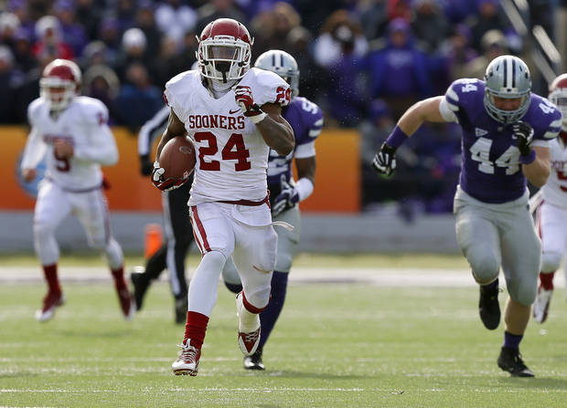 photo -  Oklahoma's Brennan Clay (24) runs for a 64-yard touchdown during an NCAA college football game between the Oklahoma Sooners and the Kansas State University Wildcats at Bill Snyder Family Stadium in Manhattan, Kan., Saturday, Nov. 23, 2013. Oklahoma won 41-31. Photo by Bryan Terry, The Oklahoman