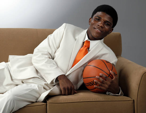 photo - Stephen Clark of Douglass High School, The Oklahoman's Super 5 and Little All-City boys high school basketball player of the year, photographed at the OPUBCO studio in Oklahoma City, Wednesday, March 28, 2012. Photo by Nate Billings, The Oklahoman