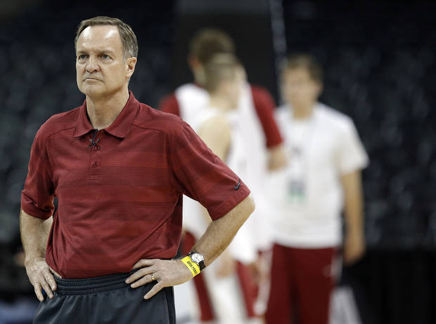 photo - Oklahoma's Lon Kruger watches practice for the NCAA men's basketball tournament practice at the Spokane Arena in Spokane, Wash., Wednesday, March 19, 2014.Photo by Sarah Phipps, The Oklahoman