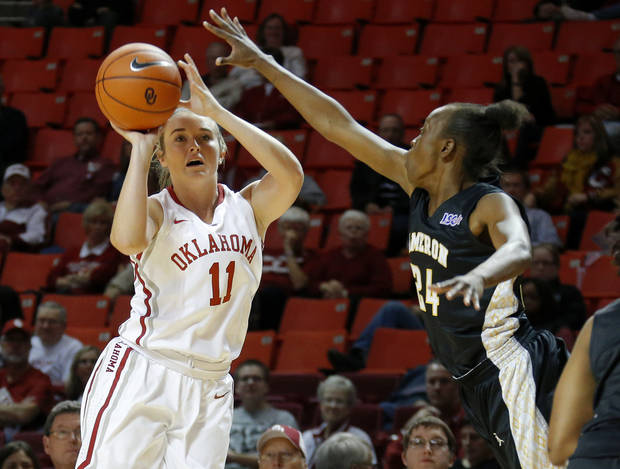 photo - Oklahoma's Derica Wyatt shoots the ball beside Cameron's Sasha Carter during an NCAA women's college exhibition basketball game between the University of Oklahoma and Cameron University at Lloyd Noble Center in Norman, Okla., on Saturday, Nov. 2, 2013. Photo by Bryan Terry, The Oklahoman