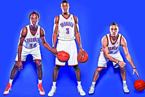 photo - From left, Hasheem Thabeet, Perry Jones III and Andy Rautins are three of the seven new Thunder players vying for a roster spot. Photo illustration by Phillip Baeza; Photos by Chris Landsberger, The Oklahoman