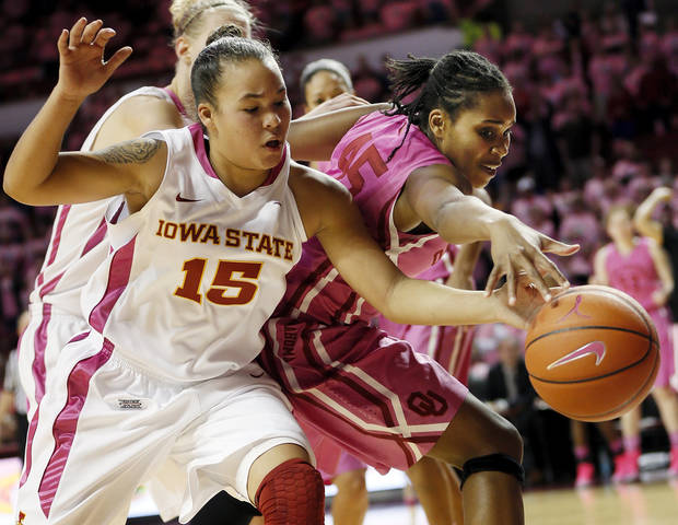 photo - Iowa State&#039;s Nicole &quot;Kidd&quot; Blaskowsky (15) and Oklahoma&#039;s Jasmine Hartman (45) chase a loose ball during an NCAA women&#039;s basketball game between the University of Oklahoma (OU) and Iowa State at the Lloyd Noble Center in Norman, Okla., Thursday, Feb. 14, 2013. Iowa State won, 72-68. Photo by Nate Billings, The Oklahoman