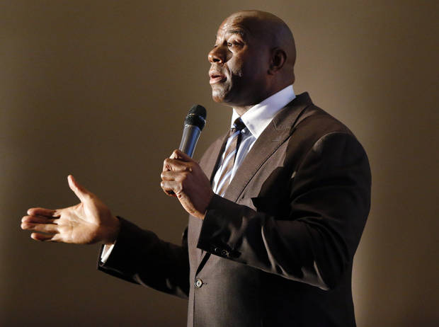 photo - Magic Johnson gives the keynote speech at the 2012 Champions of Health Gala at the National Cowboy & Western Heritage Museum in Oklahoma City, Monday, Oct. 8, 2012. Photo by Nate Billings, The Oklahoman