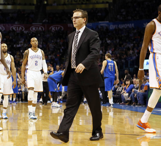 photo - Coach Scott Brooks and the Oklahoma City Thunder enter Tuesday's game at Sacramento just a game ahead of the Los Angeles Clippers for the Western Conference's No. 3 seed.                    Photo by Nate Billings, The Oklahoman