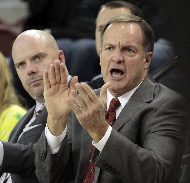Oklahoma head coach Lon Kruger reacts to play as the University of Oklahoma (OU) Sooners men's basketball team defeats  the Central Oklahoma Bronchos 94-66 at McCasland Field House on Wednesday, Nov. 7, 2012  in Norman, Okla. Photo by Steve Sisney, The Oklahoman