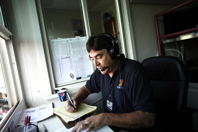 Rex Holt works before the Bedlam baseball game between The University of Oklahoma and Oklahoma State University at  Oklahoma City, Saturday, May 5, 2012. Photo by Sarah Phipps, The Oklahoman