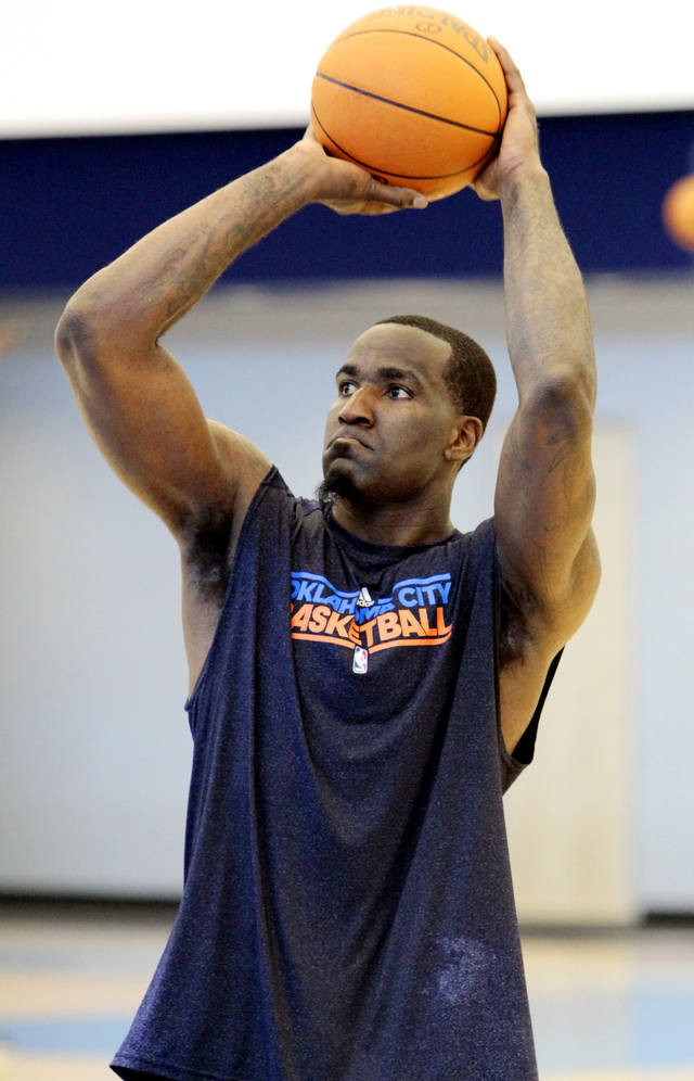 Kendrick Perkins shoots during practice at the Oklahoma City Thunder practice facility on Friday, April 27, 2012, in Oklahoma City, Okla.  Photo by Steve Sisney, The Oklahoman