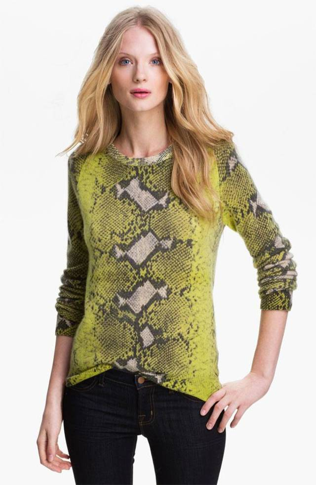 For those who follow the Chinese zodiac, the year of the snake begins Feb. 10. Some ways to incorporate the symbol of the year into your wardrobe, with no harm done to any living creature include this Equipment 'Sloan' crewneck cashmere sweater, $298 from Nordstrom. (Nordstrom.com via Los Angeles Times/MCT)