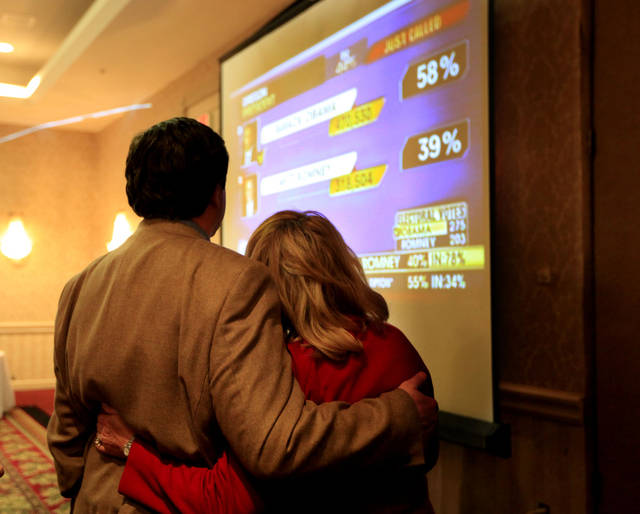 Gov. Mary Fallin and her husband Wade Christensen watch election results during the Oklahoma GOP watch party in Oklahoma City,  Tuesday, Nov. 6, 2012. Photo by Sarah Phipps, The Oklahoman