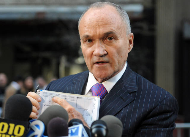 FILE - This April 26, 2013 file photo shows New York City Police Commissioner Ray Kelly as he uses a sketch drawing during a press briefing, in New York. Kelly is by all accounts the most popular political figure in New York City who is not running for mayor. But when asked, his answer is always the same: I'm focusing on my job with the police department and have no plans to run. (AP Photo/Louis Lanzano, File)