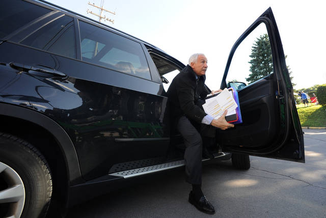 Former Penn State University assistant football coach Jerry Sandusky arrives for the third day his trial at the Centre County Courthouse in Bellefonte, Pa., Wednesday, June 13, 2012. Sandusky faces 52 counts of child sex-abuse involving 10 boys over a 15-year span. (AP Photo/Centre Daily Times, Nabil K. Mark) MANDATORY CREDIT; MAGS OUT; ALTOONA MIRROR OUT; LOCK HAVEN EXPRESS OUT; CLEARFIELD PROGRESS OUT; HARRISBURG PATRIOT NEWS OUT; CENTRE COUNTY GAZETTE OUT; STATECOLLEGE.COM OUT