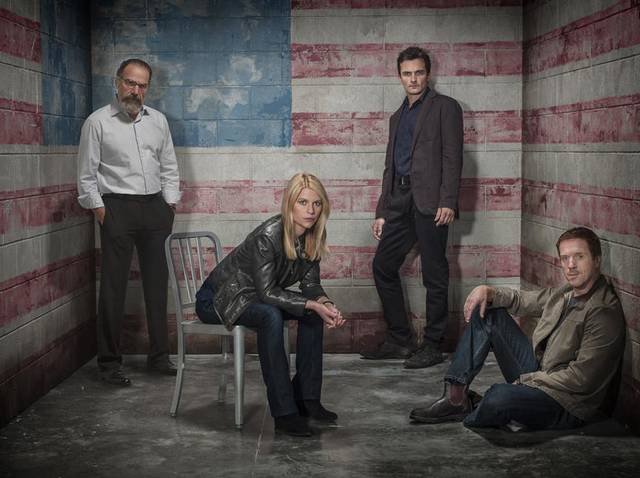"Mandy Patinkin as Saul Berenson, Claire Danes as Carrie Mathison, Rupert Friend as Peter Quinn and Damian Lewis as NIcholas ""Nick"" Brody in Homeland. - Photo by  Frank Ockenfels/SHOWTIME"