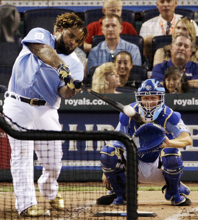 American League's Prince Fielder, of the Detroit Tigers, swings during the second round of the MLB All-Star Home Run Derby on Monday in Kansas City, Mo. Fielder won the event for the second time. AP Photo
