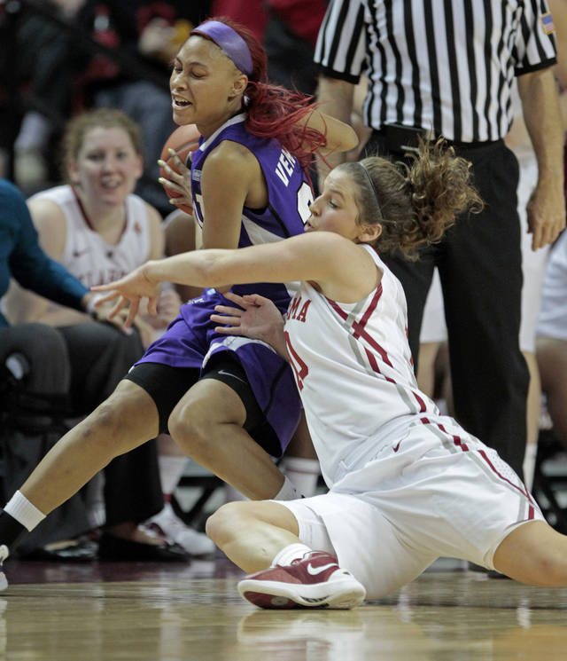 Oklahoma Sooners' Morgan Hook (10) tries to steal the ball from Natalie Ventress as the University of Oklahoma (OU) Sooners play the Texas Christian University (TCU) Horned Frogs in women's college basketball at the Lloyd Noble Center on Wednesday, Dec. 28, 2011, in Norman, Okla.  
