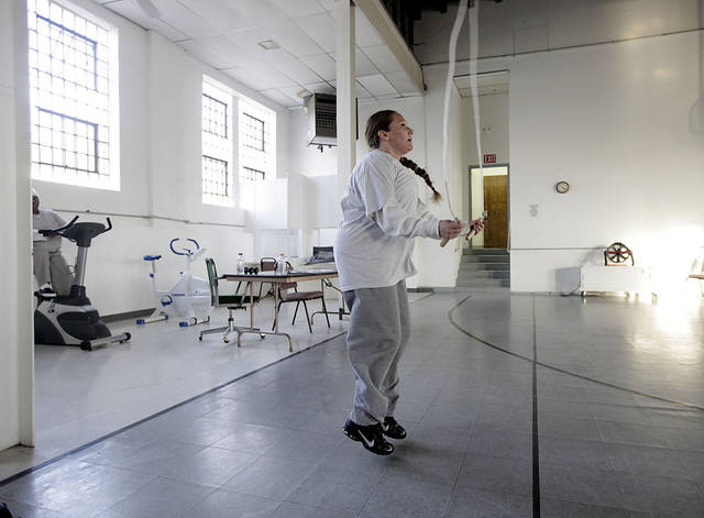 Jennifer Langston jumps rope in the gymnasium at Eddie Warrior Correctional Center Dec. 1, 2010. MIKE SIMONS/Tulsa World