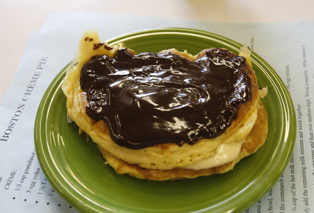 Boston Cream Pie Pancakes prepared by James McAffrey, 9, in the Shawnee Mills'  Kids' Pancakes, Flapjacks and Griddle Cakes Contest at the Oklahoma State Fair on Saturday, Sep. 22, 2012. Photo by Jim Beckel, The Oklahoman.