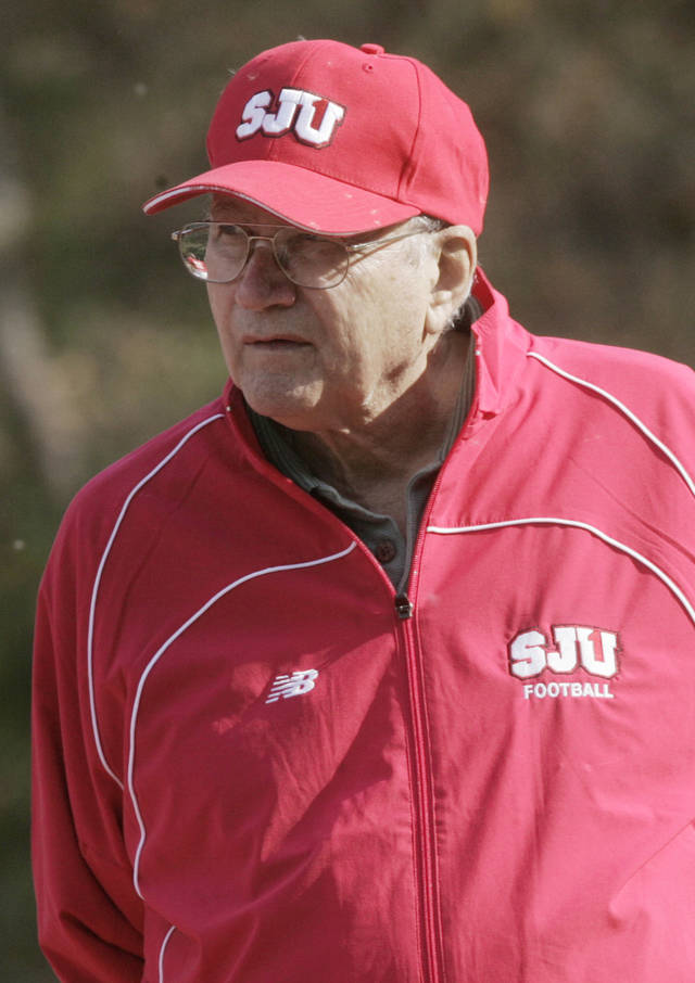 FILE - This Oct. 6, 2006 file photo shows St. Johns University head football coach John Gagliardi during football practice in Collegeville, Minn. Gagliardi, the winningest coach in college football history, is retiring from Division III St. John's University in Minnesota. Gagliardi announced his decision on the team website on Monday, Nov. 19, 2012. (AP Photo/Jim Mone, File)