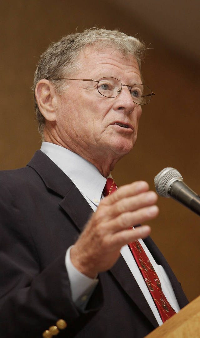 Sen. Jim Inhofe, R-Tulsa, speaking at a Greater Oklahoma City Chamber of Commerce breakfast in Oklahoma City Thursday, August 26, 2010. Photo by Paul B. Southerland, The Oklahoman