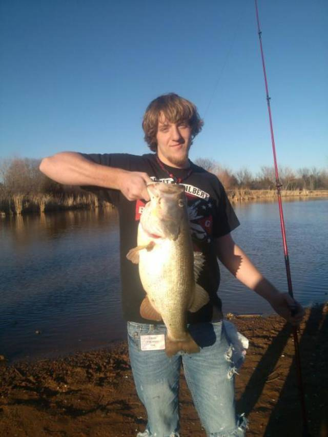 10 pound bass caught at N.E. Lions Park, Norman