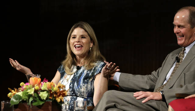 Jenna Bush Hager, left, talks about life in the White House as Steve Ford, right, laughs, during the Enduring Legacies of America�s First Ladies conference Thursday, Nov. 15, 2012, in Austin, Texas. The children of three presidents discussed life in the White House as part of a conference on first ladies at the Lyndon B. Johnson Presidential Library. (AP Photo/David J. Phillip)