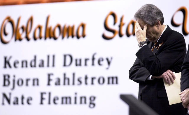 Former OSU basketball coach Eddie Sutton at the memorial for the 10 men killed in the 2001 plane crash. Photo by Bryan Terry, The Oklahoman Archive.