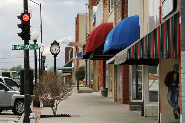 This photo shows stores and shops on Broadway in the business district in downtown Cushing. Photo taken Tuesday, March 20, 2012.   Photo by Jim Beckel, The Oklahoman