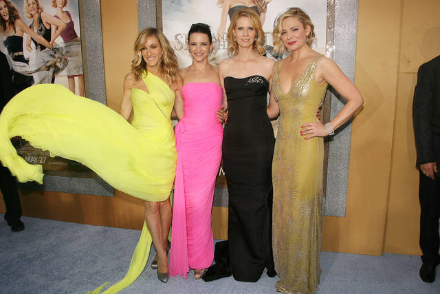"In this photo released by Starpix, the cast of ""Sex and the City 2"" from left, Sarah Jessica Parker, Kristin Davis, Cynthia Nixon and Kim Cattrall pose for a photo at the premiere at Radio City Music Hall in New York on Monday, May 24, 2010.  (AP Photo/Starpix, Dave Allocca)  ORG XMIT: NY148"