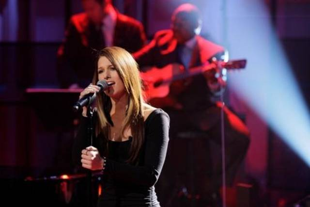 "Cassadee Pope, who won Season 3 of ""The Voice"" in December under the tutelage of Oklahoma country music star Blake Shelton, perform on ""The Tonight Show with Jay Leno."" (Photo by Paul Drinkwater/NBC)"