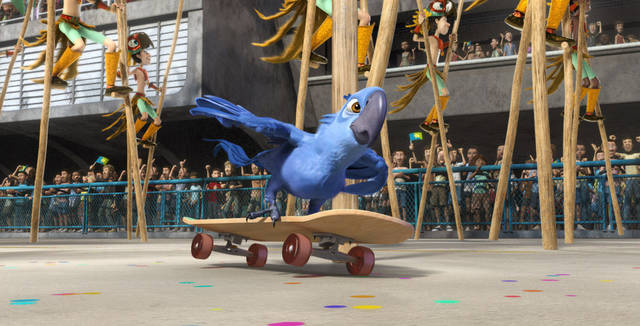 "In this publicity image released by 20th Century Fox, the animated character Blu, voiced by Jesse Eisenberg, is shown in a scene from ""Rio."" The film was nominated Monday, Dec. 5, 2011, for best animated film at the Annie Awards. Presented by the International Animated Film Society, the Annie Awards will be handed out Feb. 4 at a ceremony in Los Angeles. (AP Photo/20th Century Fox)"