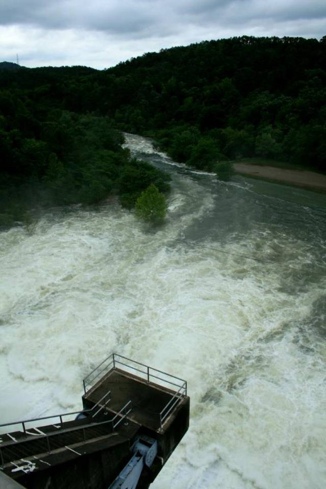 Water released from Broken Bow Lake into the Lower Mountain Fork River