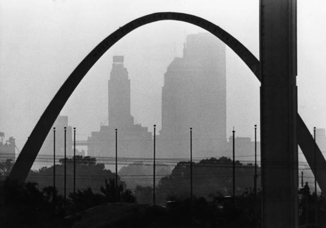 OKLAHOMA CITY / SKY LINE / OKLAHOMA:  Oklahoma City skyline fades into Wednesday's trapped air pollution but intermittent rains were expected to drive off pollutants today.  Staff photo by Bob Albright.  Photo dated 08/09/1978 and published on 08/10/1978 in The Daily Oklahoman.