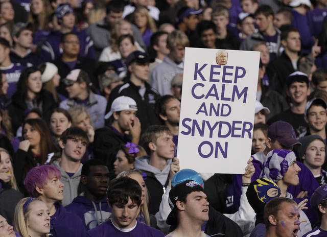 Kansas State fans show support for the Wildcat coach Bill Snyder during the college football game between the Oklahoma State University Cowboys (OSU) and the Kansas State University Wildcats (KSU) at Bill Snyder Family Football Stadium on Saturday, Nov. 1, 2012, in Manhattan, Kan. Photo by Chris Landsberger, The Oklahoman