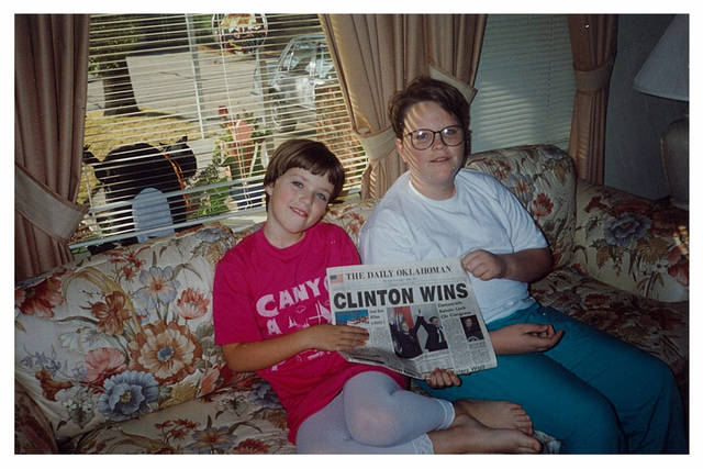 Miriam and Tony LoPresto pose with The Oklahoman after President Bill Clinton's election in 1992. She was 9; he was 13. <strong> - Provided</strong>