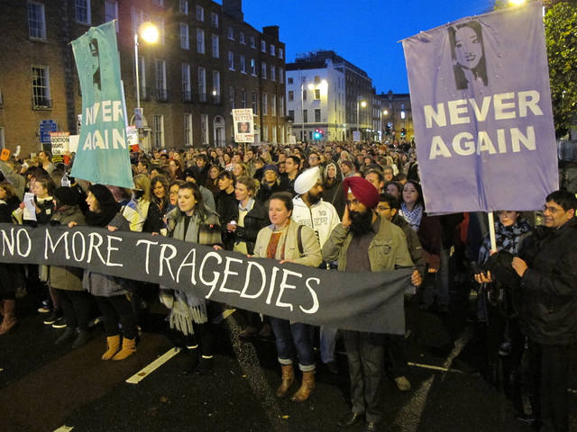 Several thousand abortion rights protesters march through central Dublin, Saturday, Nov. 17, 2012, demanding that Ireland's government ensures that abortions can be performed to save a woman's life. Ireland has been shocked by the death of Savita Halappanavar, a 31-year-old Indian dentist who died of blood poisoning after being denied an abortion in a Dublin hospital last month. (AP Photo/Shawn Pogatchnik)