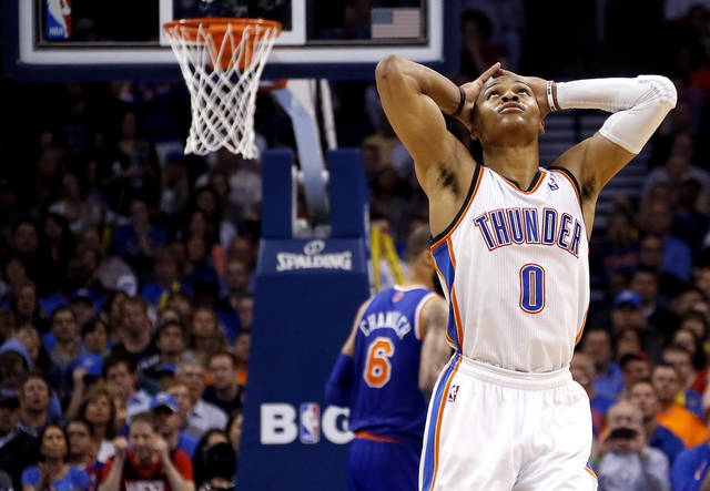 Oklahoma City's Russell Westbrook (0) reacts after missing a shot during NBA basketball game between the Oklahoma City Thunder and the New York Knicks at the Chesapeake Energy Arena, Sunday, April 7, 2010, in Oklahoma City Photo by Sarah Phipps, The Oklahoman