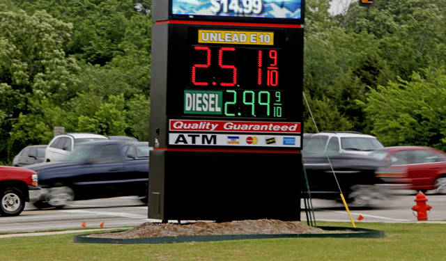 Gas prices are shown on a sign in Oklahoma City, Wednesday, May 12, 2010.  Photo by Bryan Terry, The Oklahoman