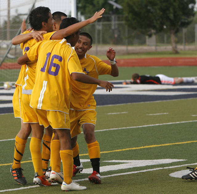 Northwest Classen celebrates their win over Cascia Hall during the boys 5A soccer state championship game at Edmond North High School in Edmond, Okla., Saturday, May 12, 2012. Photo by Sarah Phipps, The Oklahoman