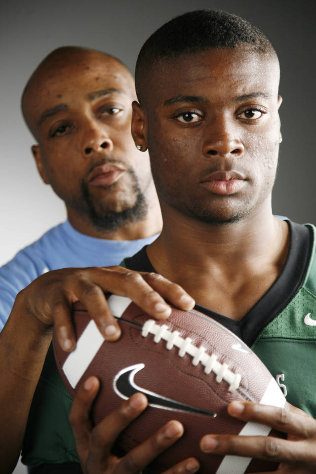 HIGH SCHOOL FOOTBALL: Edmond Santa Fe defensive back Khari Harding and his dad, Corie Harding at the OPUBCO studio Tuesday, May 22, 2012. Photo by Doug Hoke, The Oklahoman