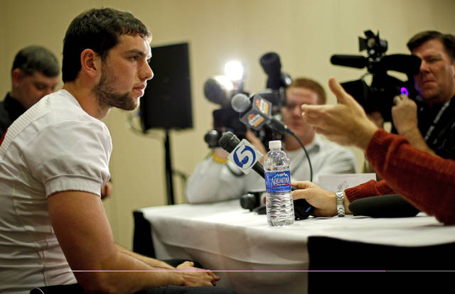 Stanford's Andrew Luck is interviewed during media day for the Fiesta Bowl in Paradise Valley, Ariz., Friday, Dec. 30, 2011. Oklahoma State will play Stanford in the Fiesta Bowl on Monday, Jan. 2, 2012. Photo by Bryan Terry, The Oklahoman