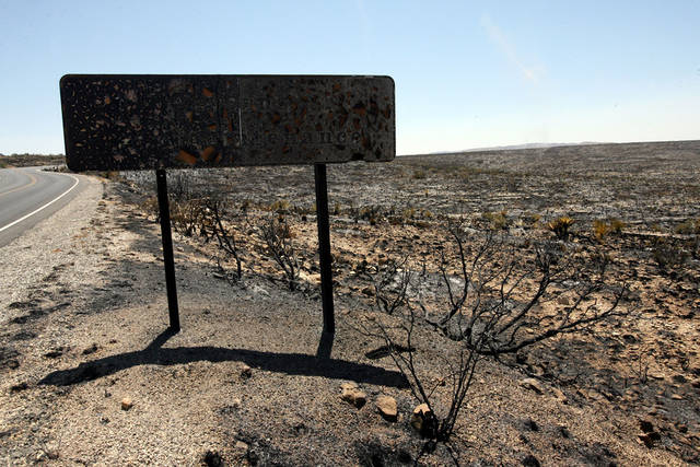 A sign on the scenic loop road to Carlsbad Caverns National Park sits charred on Wednesday, June 15, 2011, in southern New Mexico. Back-burn operations done Tuesday and Wednesday around Carlsbad Caverns park headquarters and along a highway east of the park were successful. Officials said firefighters had been careful to protect as much as they could around the visitors center and the natural cave entrance. (AP Photo/ El Paso Times, Rudy Gutierrez)