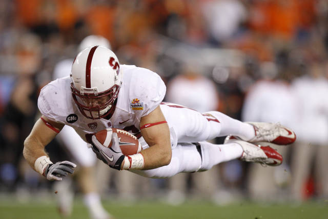 Stanford's Zach Ertz (86) dives for a touchdown during the Fiesta Bowl between the Oklahoma State University Cowboys (OSU) and the Stanford Cardinal at the University of Phoenix Stadium in Glendale, Ariz., Monday, Jan. 2, 2012. Photo by Bryan Terry, The Oklahoman