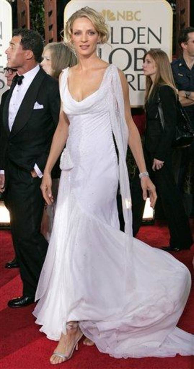 Uma Thurman, nominated for best actress in a drama for her work in Kill Bill (Vol. 2), arrives for the 62nd Annual Golden Globe Awards on Sunday, Jan. 16, 2005, in Beverly Hills, Calif. (AP Photo/Mark J. Terrill)