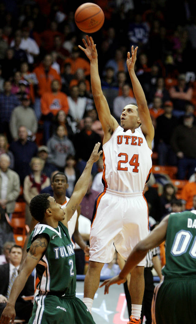 UTEP's Michael Perez shoots a 3-pointer against Tulane during an NCAA college basketball game, Saturday, Feb. 11, 2012, in El Paso, Texas. (AP Photo/The El Paso Times, Vanessa M Feldman) EL DIARIO OUT; JUAREZ MEXICO OUT