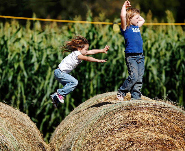 Ava Jo Davenport, 3, leaps to the bale that her cousin, Presley Swindell, 4, is on as the two girls from Wellston, Okla., play on large hay bales. Sunday, Oct. 3, 2010, at the Mickles Family Farm and corn maze on the north side of Shawnee. Photo by Jim Beckel, The Oklahoman