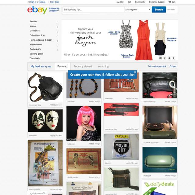 This screenshot made Oct. 10, 2012, shows EBay's redesigned website meant to encourage visitors to browse and collect items they might want to buy later with something it calls the �feed.� The feature, reminiscent of popular sites like image-heavy Pinterest, shows users items based on things they purchased in the past or items they�ve clicked on the site. Shoppers can also edit their feed by adding or removing categories and individual items. (AP Photo/Ebay)