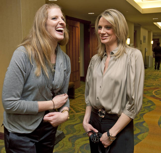 Jen Cunningham and Stacey Dales reminisce during a reunion of the 2002 University of Oklahoma (OU) women's college basketball Final Four team on Friday, Feb. 10, 2012, in Norman, Okla.  Photo by Steve Sisney, The Oklahoman