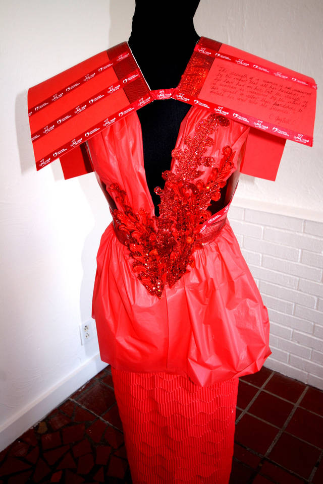 The dresses made by Oklahoma State University fashion design students are made from various materials, both textile and not. Photo provided. <strong></strong>