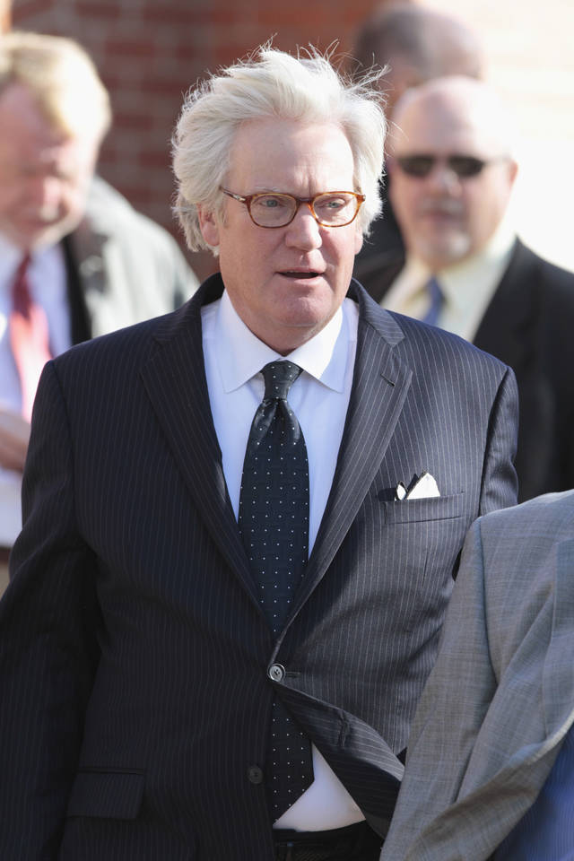 Newsman Bob Dotson leaves funeral services for Bob Barry Sr. at St. John's Episcopal Church on Thursday, Nov. 3, 2011, in Norman, Okla.    Photo by Steve Sisney, The Oklahoman